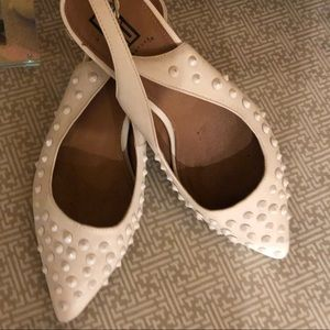 Signature White Studded Pointed Toe Slingb…